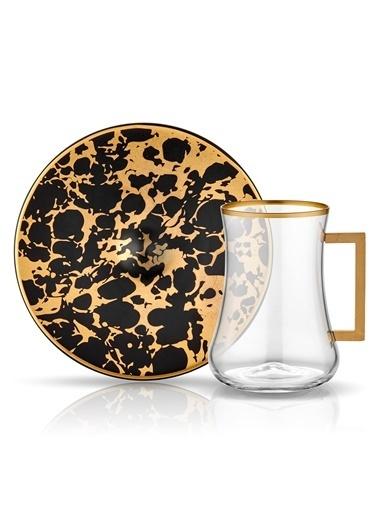 Dervish Kulplu Çay St 6'lı Ebru Siyah Mat Altın-Koleksiyon
